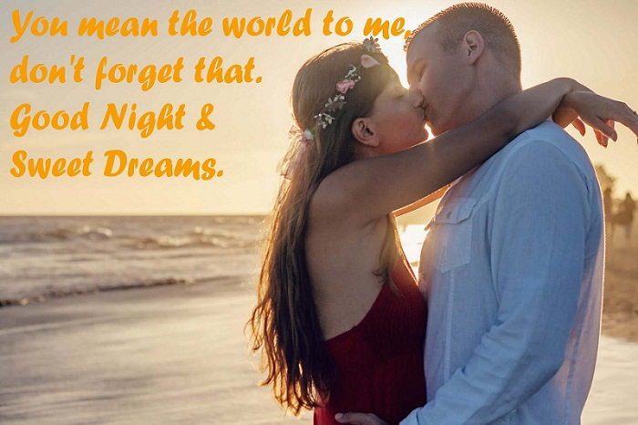 Good Night Kiss Images with Romantic Quotes