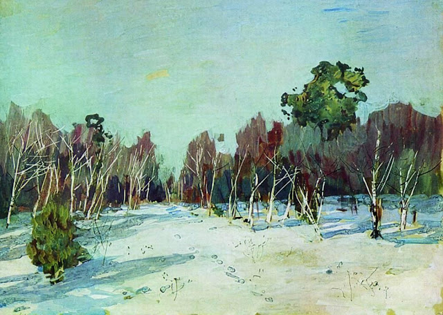 Исаак Ильич Левитан - Сад в снегу. 1880-е