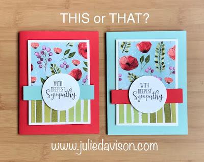 8 Cards, 1 Layout with SAB Designer Paper Sampler ~ Stampin' Up! Peaceful Poppies Designer Paper + Peaceful Moments stamp set ~ January-June 2020 Mini Catalog ~ www.juliedavison.com