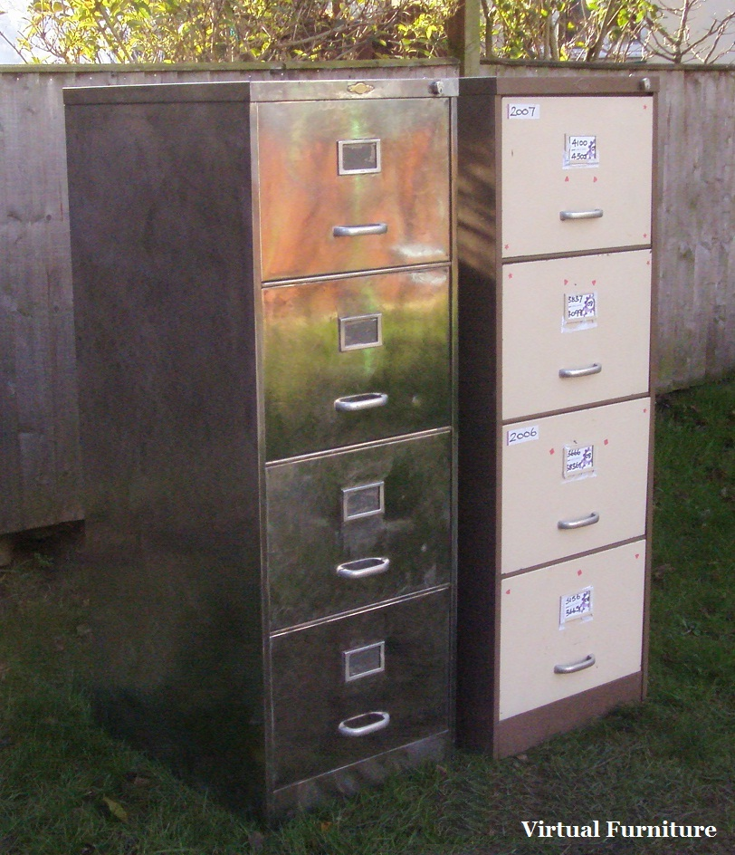 Filing Cabinets 4 Drawer Polished Steel