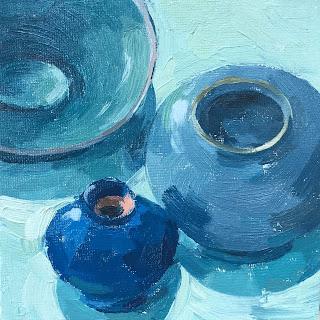 #46 'Turquoise Pots' 6×6″