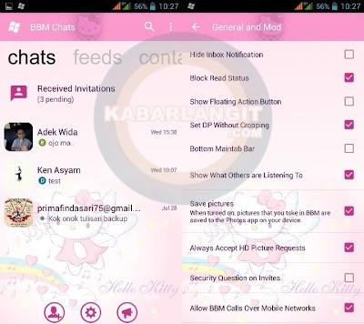BBM MOD Tampilan Windows Phone WP Hello Kitty