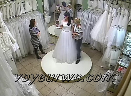 Peeping on the bride getting dressed (Trying on wedding dress 01)