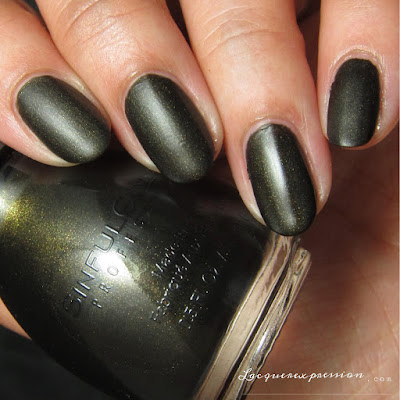 nail polish swatch of Licorice from the Pretty Vintage Collection by SinfulColors in collaboration with Kandee Johnson
