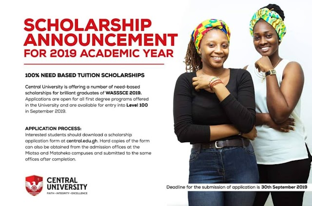 NEED-BASED SCHOLARSHIPS FOR 2019 ACADEMIC YEAR - CENTRAL UNIVERSITY