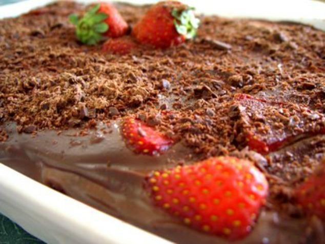 pavê de morango e chocolate