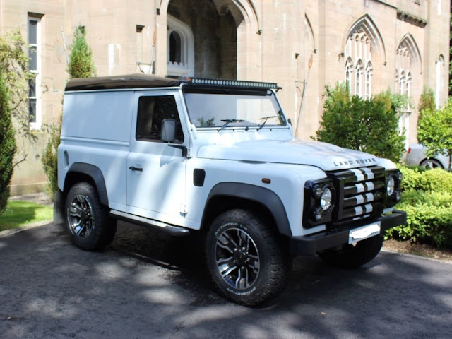 Landrover defender 2010 land rover defender 90 waterproof front seat covers new halo full width led light bar which is extremely effective newly fitted front headlightgrill kit installed real eye aloadofball Choice Image