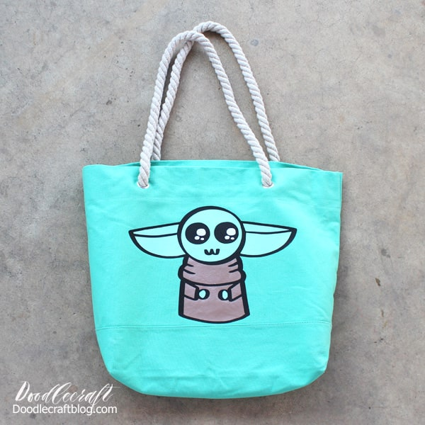 Baby Yoda The Child from Star Wars the Mandalorian Layered Cricut Iron-On Vinyl Tote Bag DIY