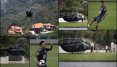 Neymar en helicóptero concentración de seleccion de Brasil Rio de Janeiro