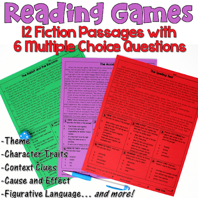 These reading games are perfect for test prep! This set includes 12 fiction passages. After reading each passage, students answer 6 multiple choice questions. Reading skills include theme, character traits, context clues, cause and effect, figurative language, and more!