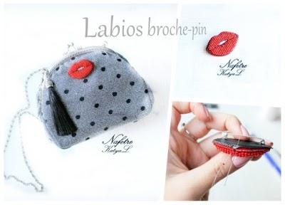 Cómo hacer un aplique-broche labios con abalorios