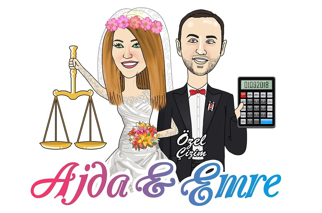 Düğün giriş panosu, Düğün girişi için pano, Nikah panosu, Düğün panosu, Kişiye özel karikatür, Evlilik hediyeleri, karikatür, Gelin damat,