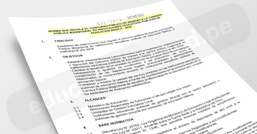 MINEDU publicó Norma Técnica que regula el Concurso de Nombramiento Docente 2018 (R. M. N° 212-2018-MINEDU) www.minedu.gob.pe