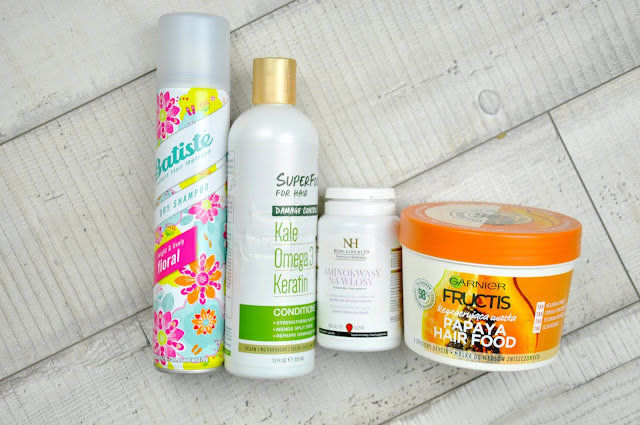 suchy szampon batiste floral, odżywkia do włosów petal fresh superfoods for hair damage control, aminokwasy na włosy noble health, regenerująca maska garnier fructis papaya hair food