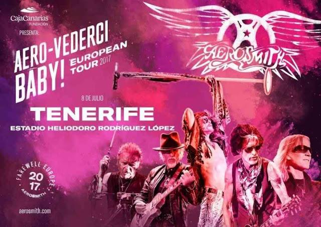 Cartel promocional del concierto de Aerosmith en Tenerife