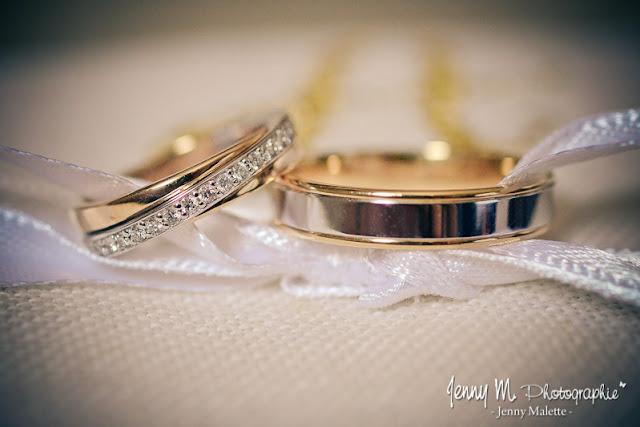 photos alliances des mariés posées sur coussin porte alliances