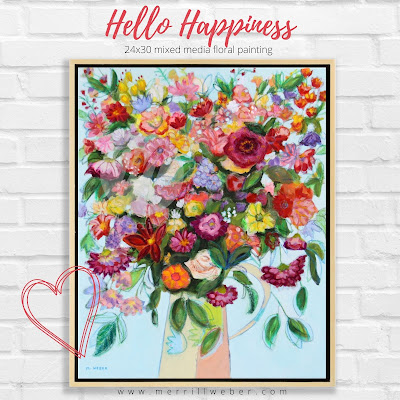 hello-happiness-large-mixed-media-floral-painting-merrill-weber
