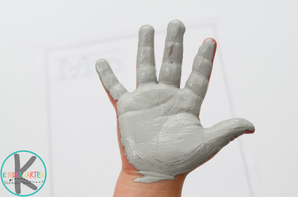 gray painted hand