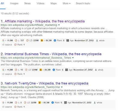 teknik seo menemukan dead link wikipedia hasil pencarian google
