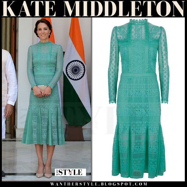 Kate Middleton in green lace midi dress with high neck temperley london desdemona what she wore royal visit india