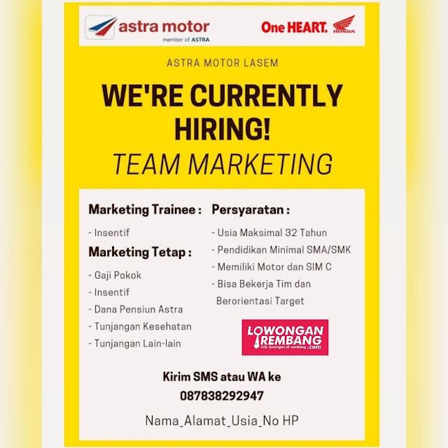 Lowongan Kerja Team Marketing Dealer Astra Motor Lasem Rembang