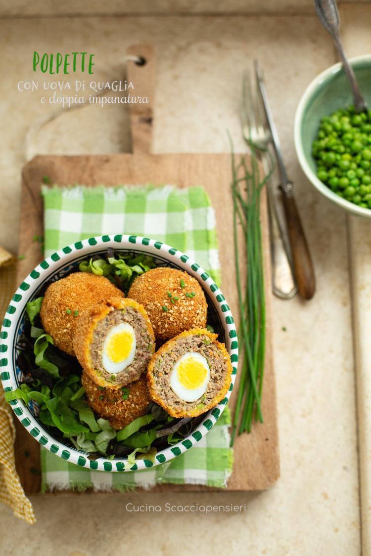 Polpette con uovo di quaglia e doppia impanatura