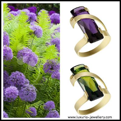 Flowers, jewellery, green, purple. rings
