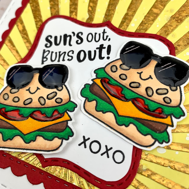 Sun's Out Buns Out Card by August Guest Designer Meghan Kennihan | Buns Out Stamp Set, Sunscape Stencil and Frames Squared Die Set by Newton's Nook Designs #newtonsnook #handmade