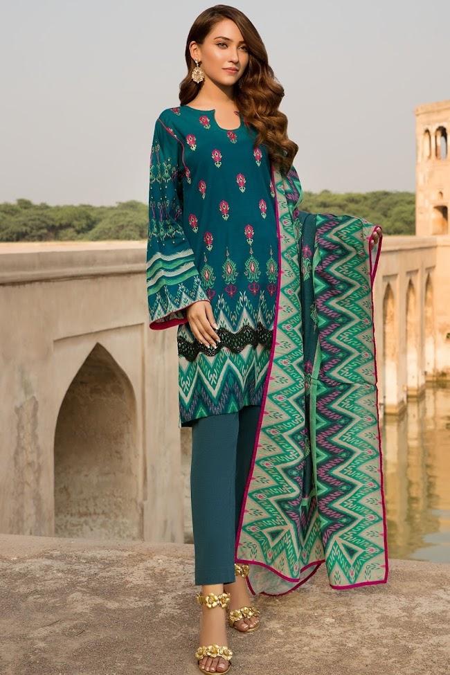 Warda's print shirt Green Khaddar