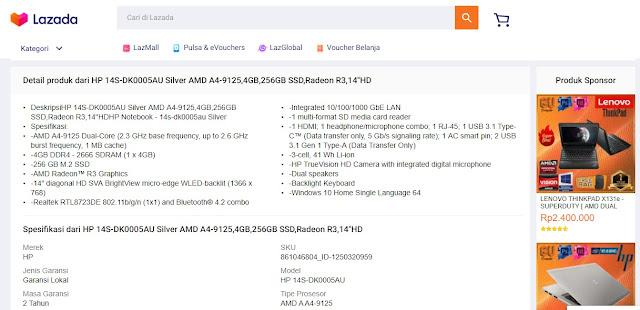 8. Melihat Spesifikasi Laptop di Toko Online