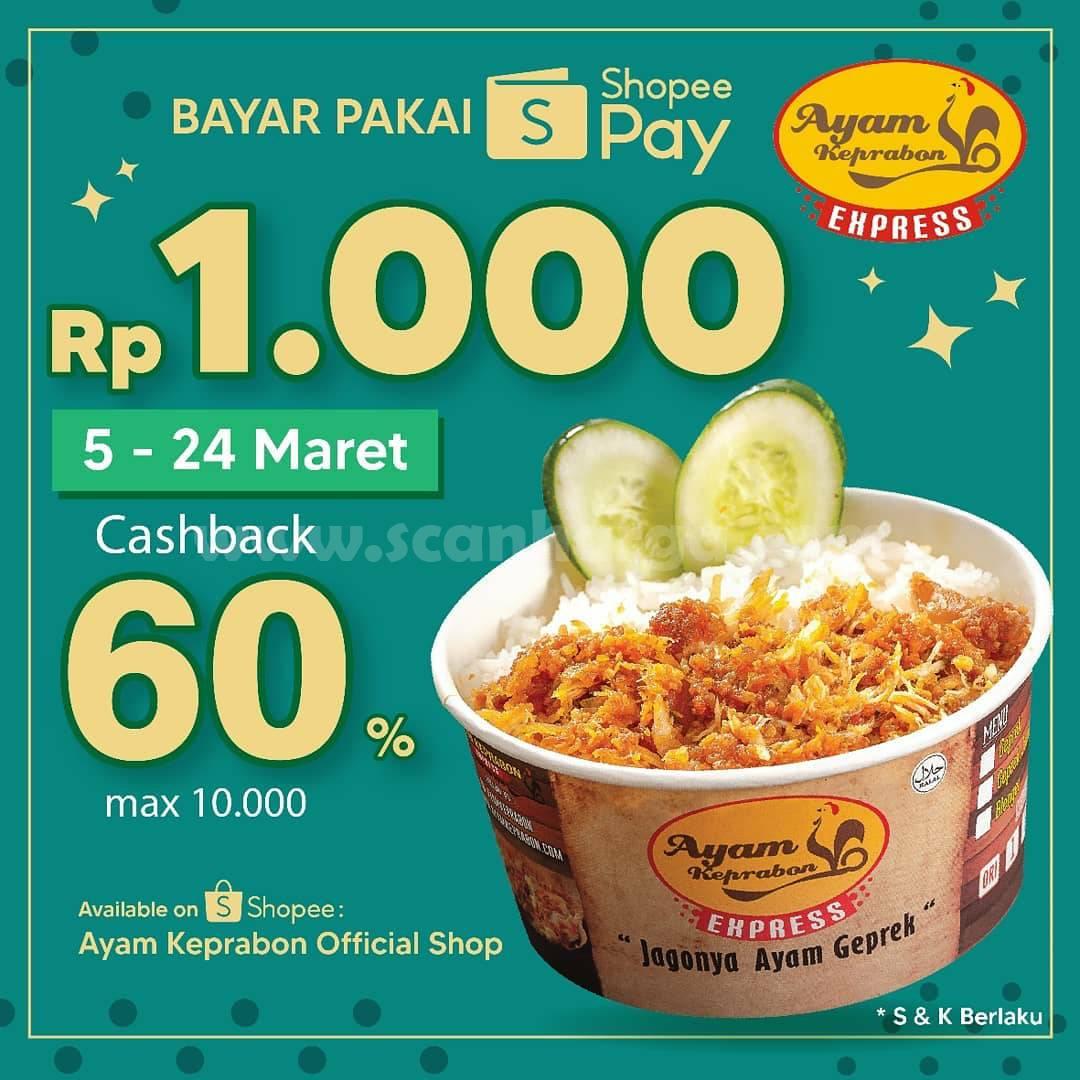 Ayam Keprabon Promo ShopeePay Cashback 60% senilai Rp 10.000