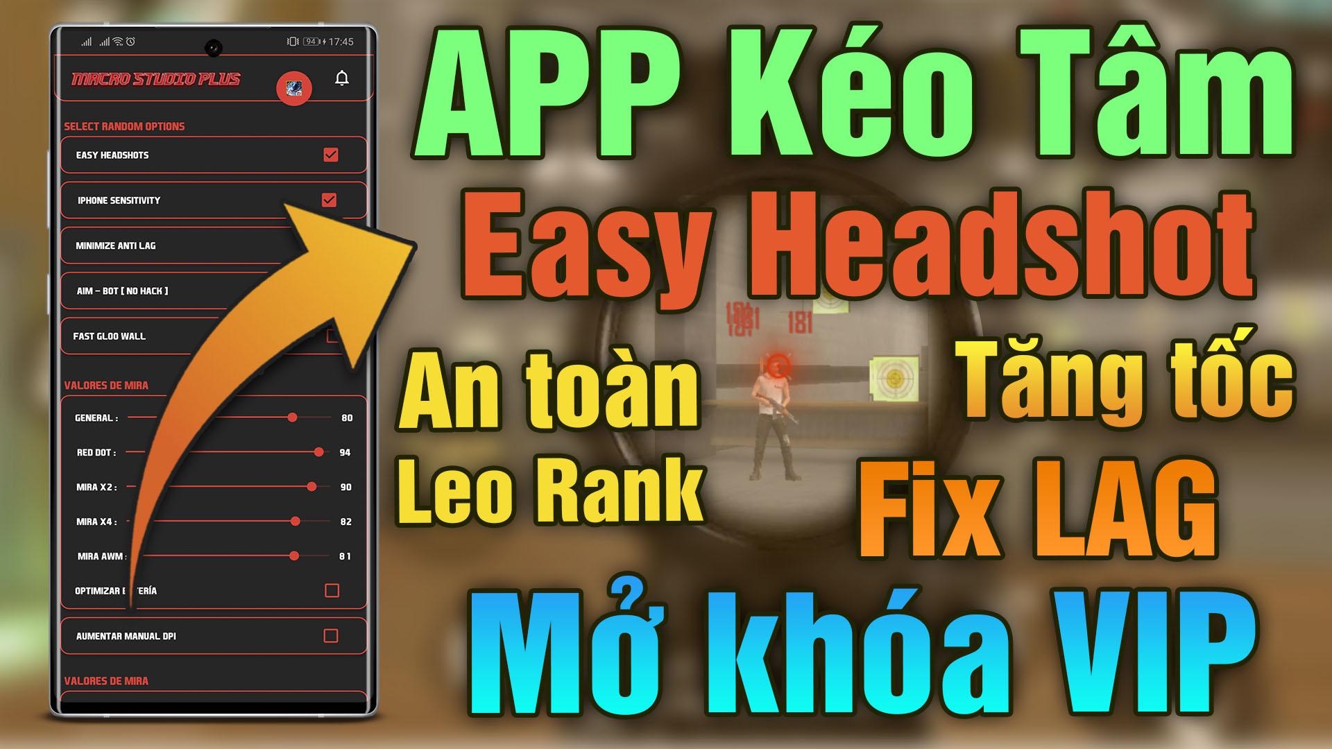 Ứng dụng kéo tâm easy headshot VIP cho Free Fire (Fix Lag Booster) siêu mượt