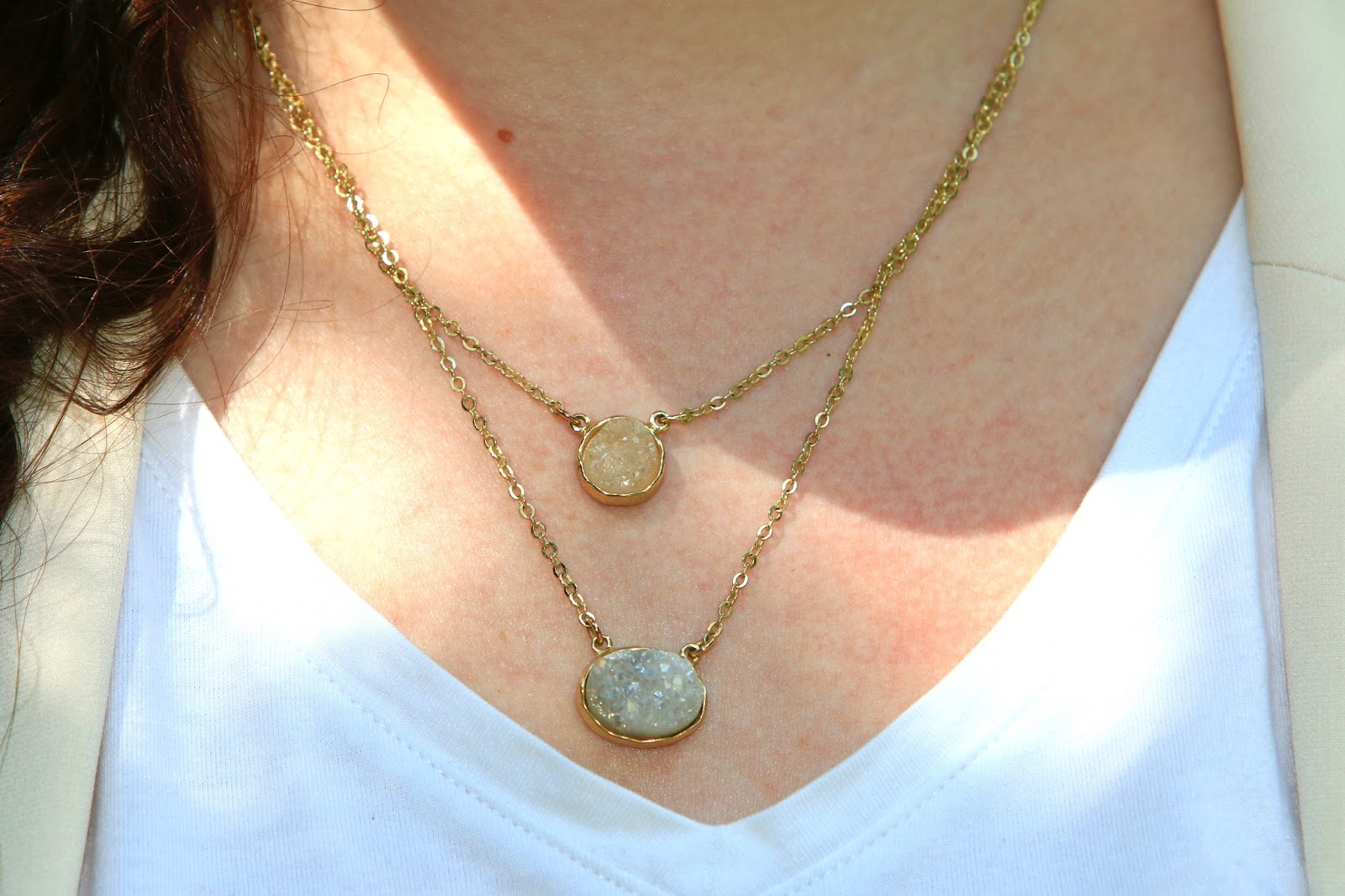 gold double strand necklace