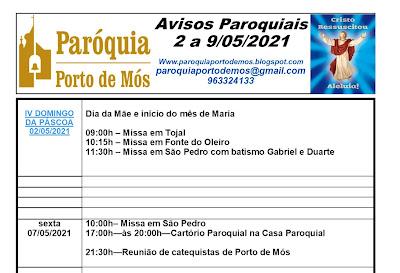 Avisos Paroquiais - 2 a 9 de Maio 2021