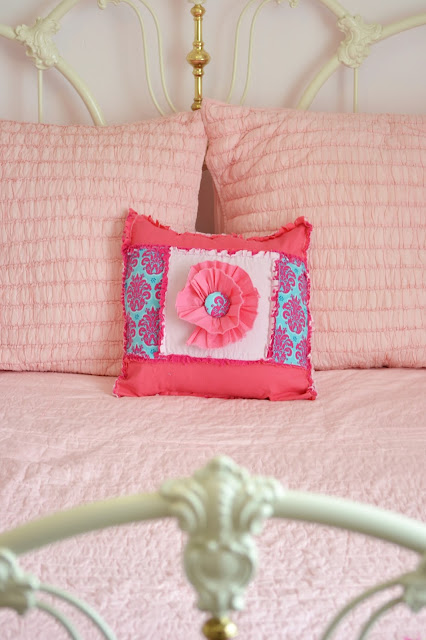 ruffle flower rag quilt throw pillow square