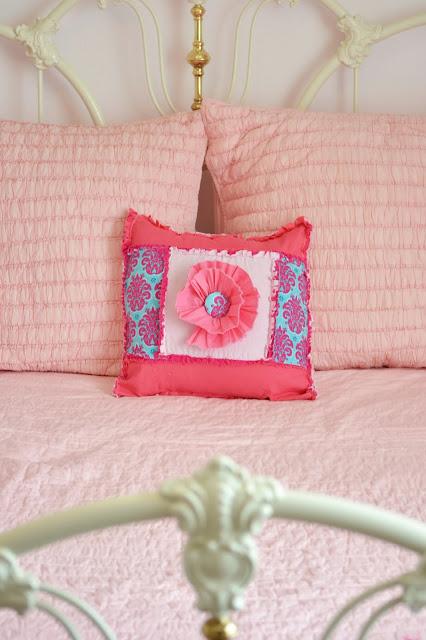 ruffle flower rag quilt throw pillow square