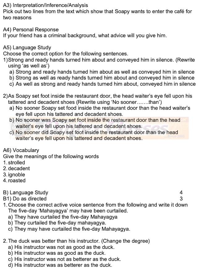 ENGLISH ACTIVITY SHEET FOR BOARD EXAM