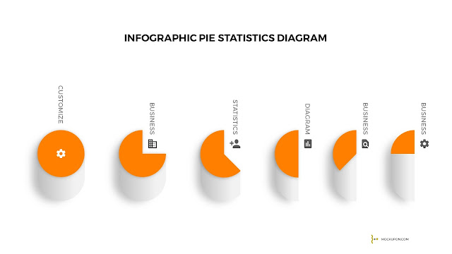 Free Powerpoint Template with Infographic Pie Chart Shape Statistics Diagram