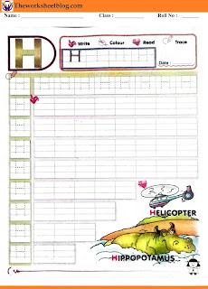Alphabet H tracing worksheet