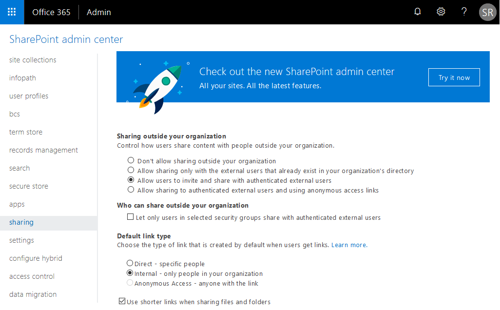 enable external sharing in sharepoint online