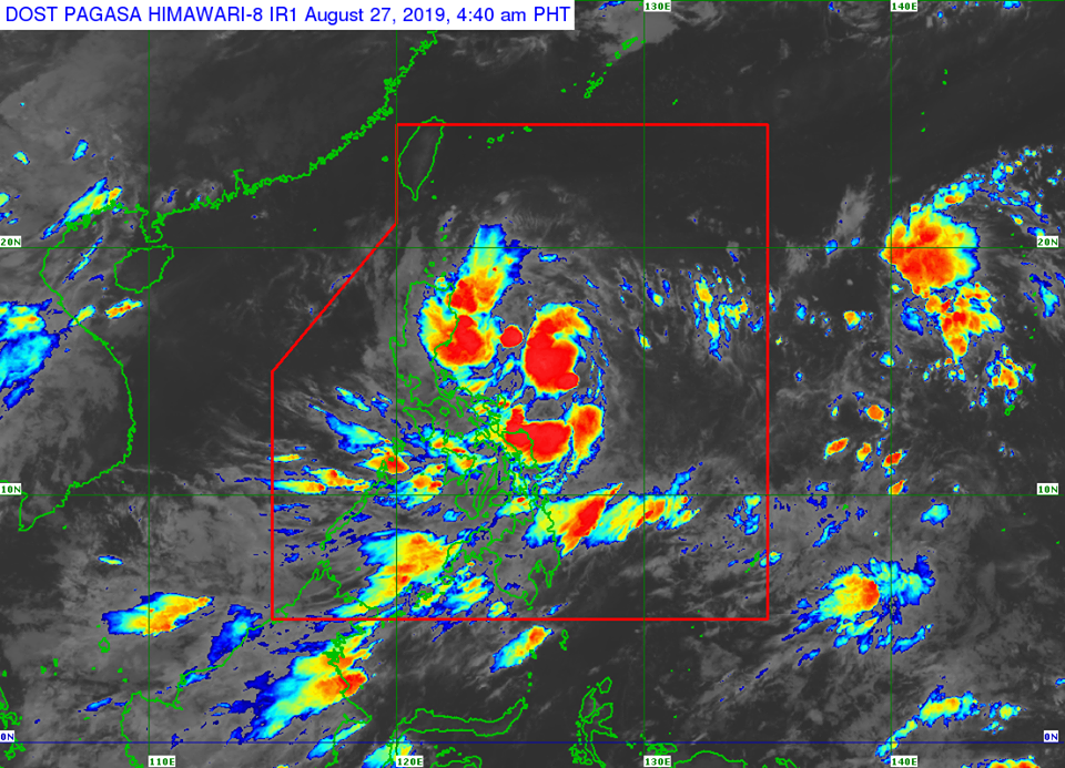 Satellite image of Tropical Depression 'Jenny' as of 4:40 am on Tuesday, August 27