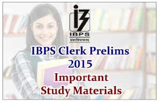 "Important Study Materials ""COMBO"" for IBPS Clerk Prelims 2015"