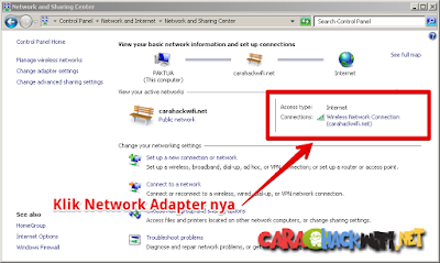Network and Sharing Center untuk melihat ip address router
