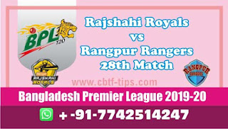 Who will win Today BPL T20, 28th Match Rangpur vs Rajshahi - Cricfrog