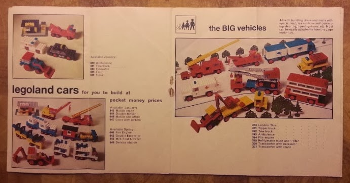 Lego System catalogue 1970's Legoland Cars and The Big Vehicles