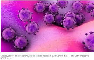 Casos suspeitos de contágio pelo novo coronavírus na PB crescem mais de 2.500% em 10 dias.
