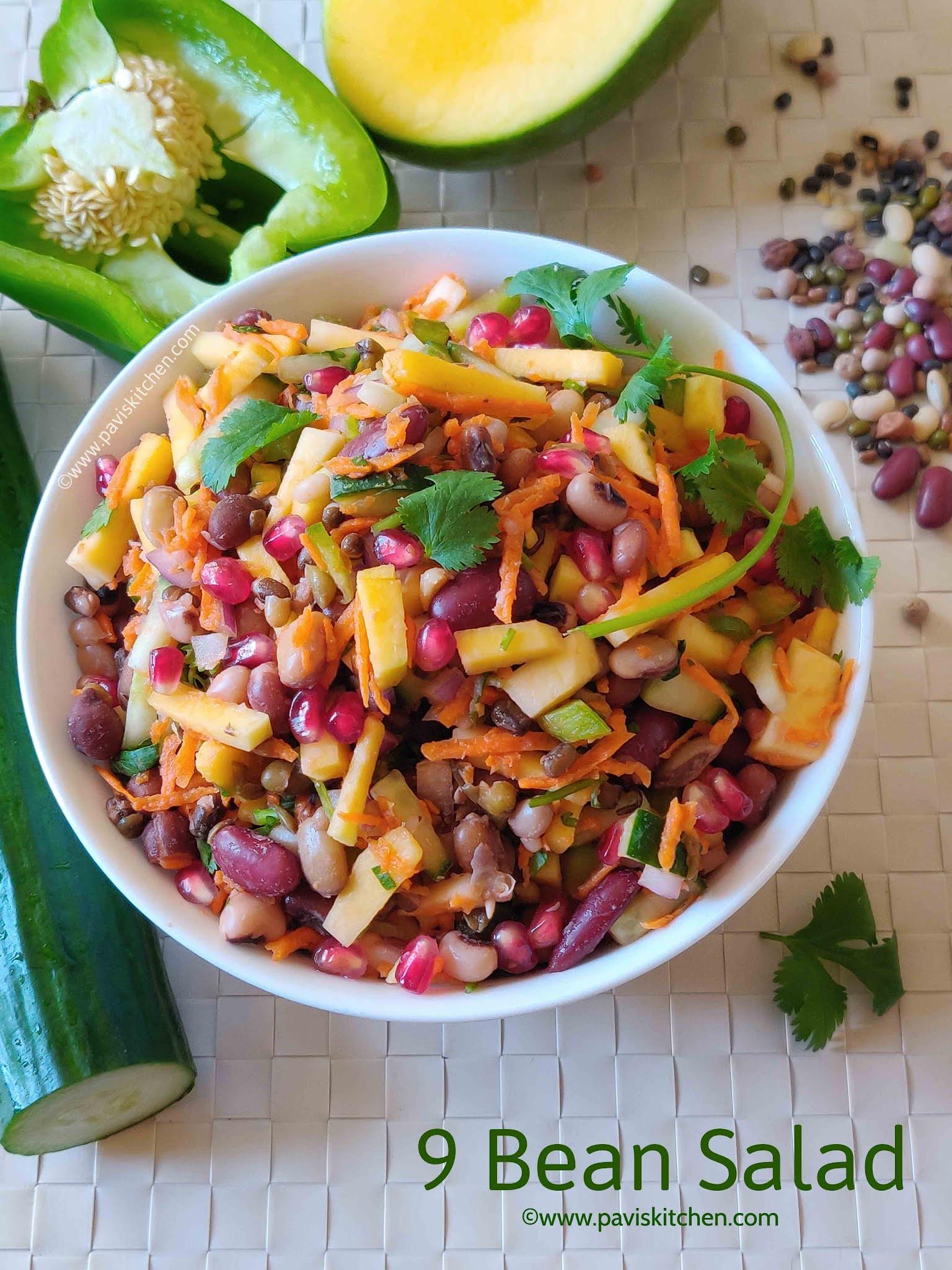 Mixed bean salad recipe   9 bean salad   bean chaat recipe   navadhanya salad