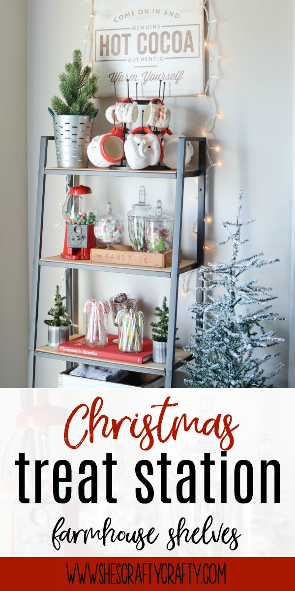 Christmas, treats, hot cocoa, tree, santa mugs, shelves