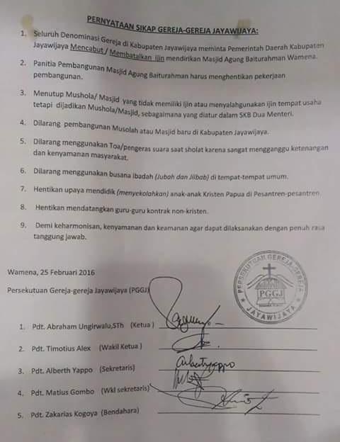 Klarifikasi Surat Persekutuan Gereja Jayawijaya Tolak Pembangunan Masjid