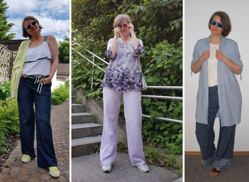 Sommerliche Marlenehosen für große Frauen kombiniert